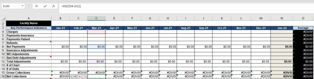 Excel caclulation net collection